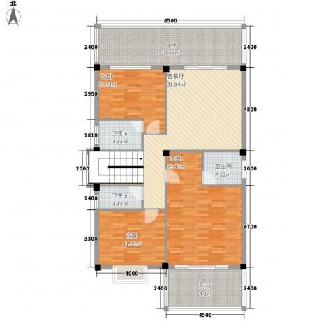 古龙公寓3室1厅3卫0厨162.00㎡户型图