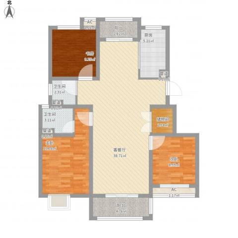 上品・长安人家3室1厅2卫1厨136.00㎡户型图