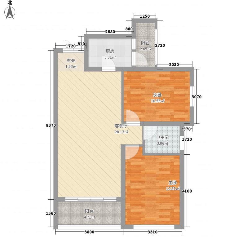 怡湖玫瑰苑一期1、12号楼标准层二居户型