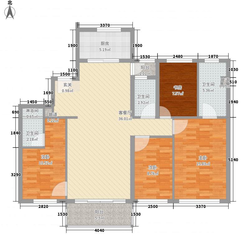 万科第五园144.00㎡户型4室2厅2卫1厨