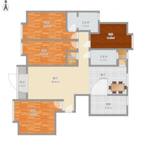 安馨园4室1厅2卫1厨190.00㎡户型图