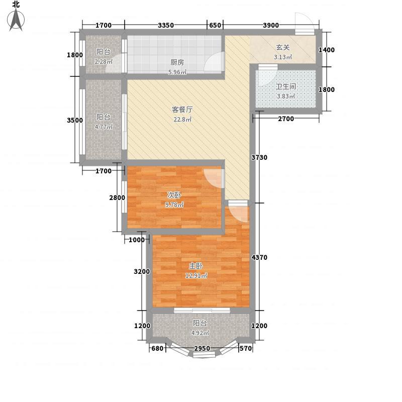 雅荷四季城86.92㎡雅荷四季城户型图B6-B2户型2室1厅1卫1厨户型2室1厅1卫1厨