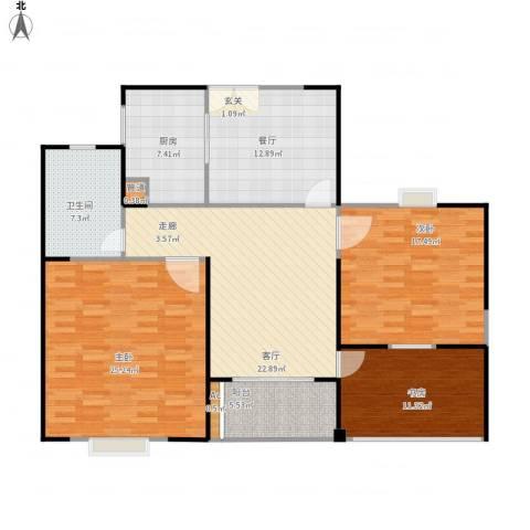 长江国际花园二期3室2厅1卫1厨148.00㎡户型图