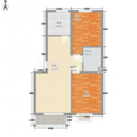 金河雅苑2室1厅1卫1厨120.00㎡户型图