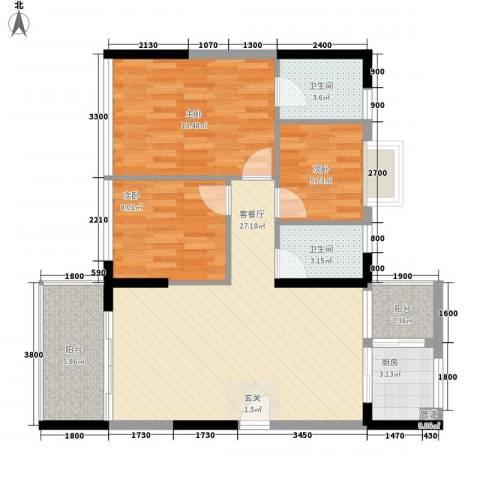 金碧丽江东第3室1厅2卫1厨72.55㎡户型图