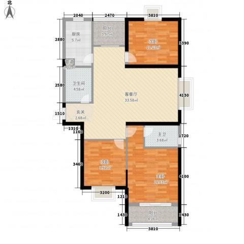 澄波湖壹号3室1厅1卫1厨132.00㎡户型图
