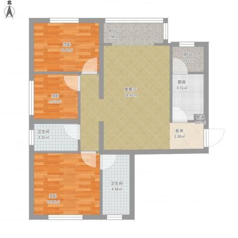 华夏奥韵3室1厅2卫1厨95.00㎡户型图