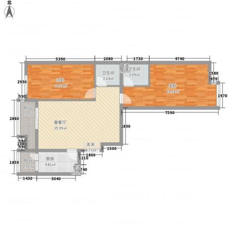 领地一期2室1厅2卫1厨101.00㎡户型图