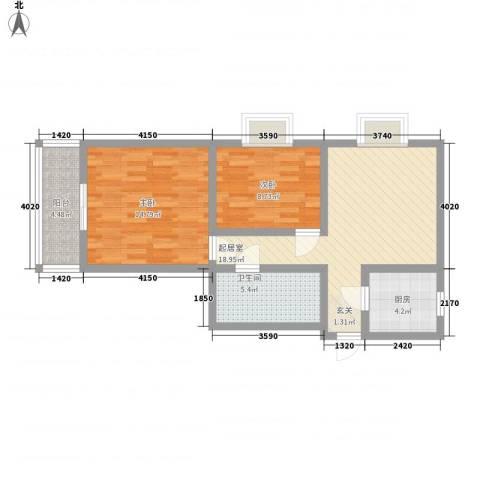 鼎新花园2室0厅1卫1厨85.00㎡户型图