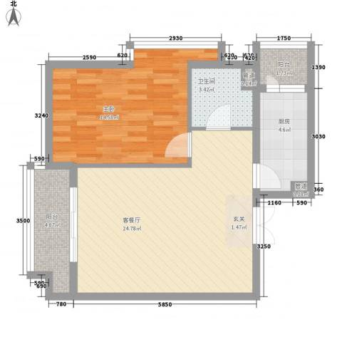领地一期1室1厅1卫1厨71.00㎡户型图