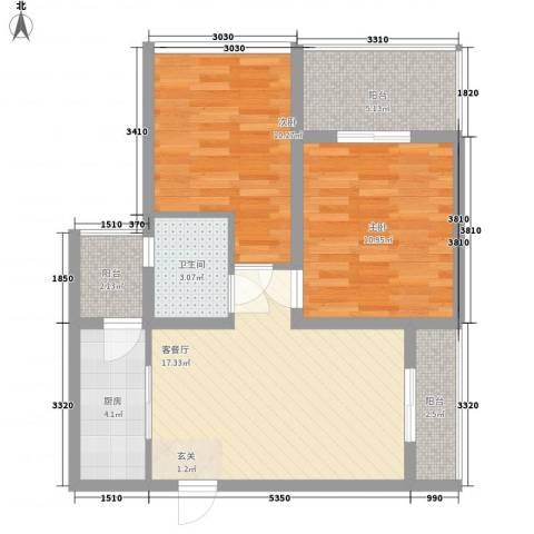 大兴伊比亚河畔IV・海逸广场2室1厅1卫1厨79.00㎡户型图