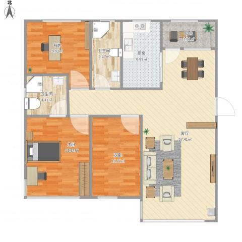 国宝星月湾3室1厅2卫1厨124.00㎡户型图