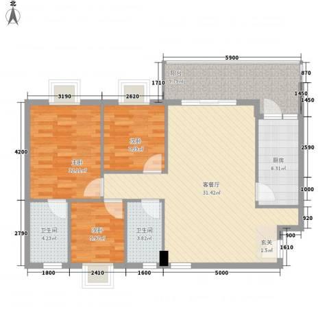 水木箐华3室1厅2卫1厨92.00㎡户型图