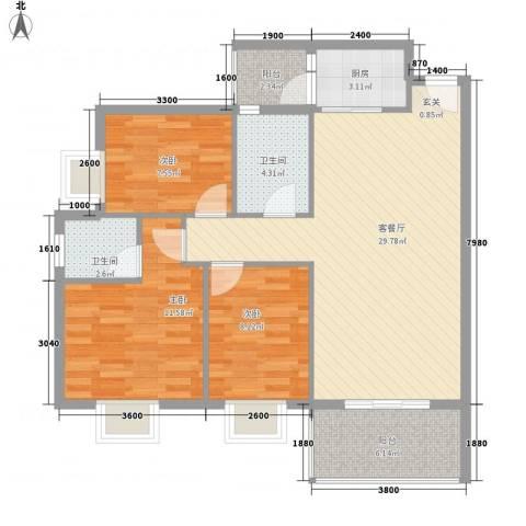 水木箐华3室1厅2卫1厨90.00㎡户型图