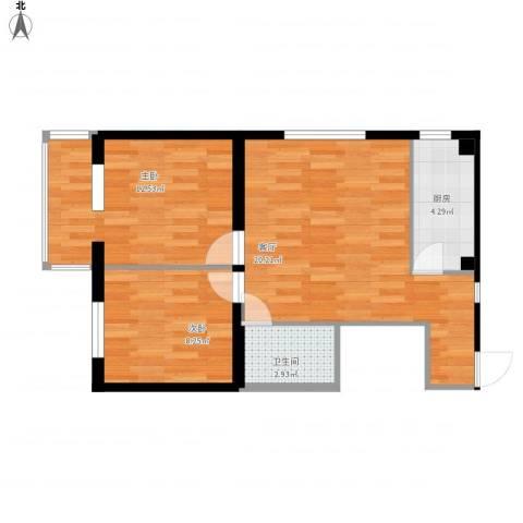 华威西里2室1厅1卫1厨68.00㎡户型图