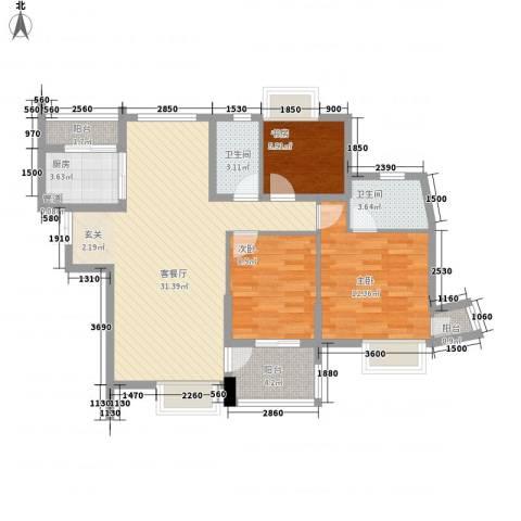鼓楼人家3室1厅2卫1厨88.00㎡户型图