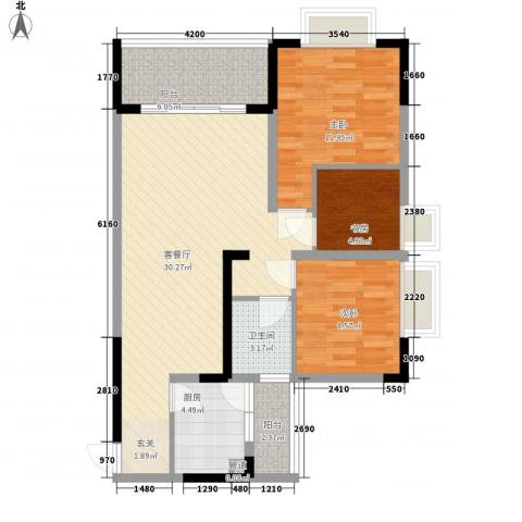 银海北极星3室1厅1卫1厨78.00㎡户型图