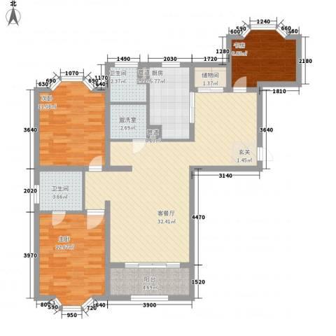 虹康花苑二期3室1厅2卫1厨121.00㎡户型图