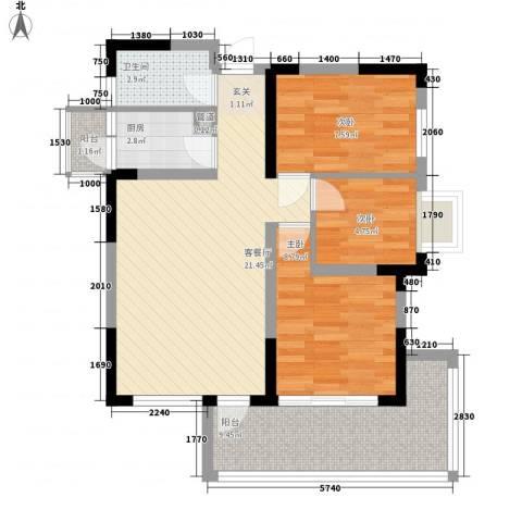 潜龙鑫茂花园3室1厅1卫1厨86.00㎡户型图