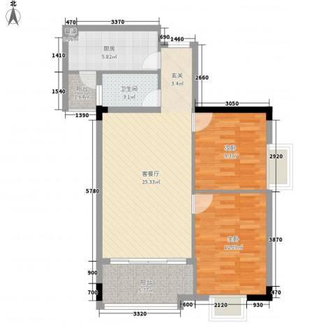会展领域2室1厅1卫1厨89.00㎡户型图