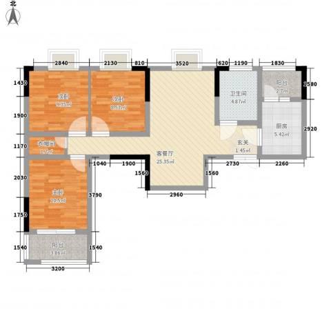 秦水名邸3室1厅1卫1厨106.00㎡户型图