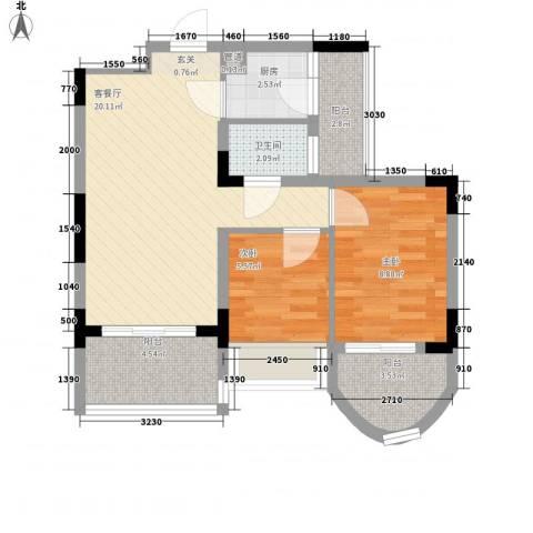 潜龙鑫茂花园2室1厅1卫1厨74.00㎡户型图