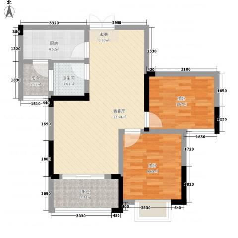 秦水名邸2室1厅1卫1厨82.00㎡户型图