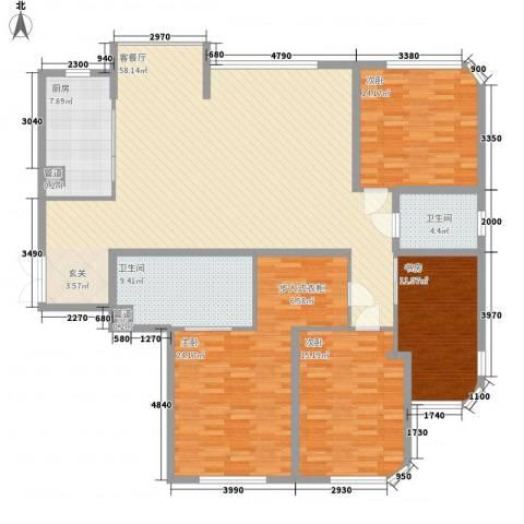 新华大厦4室1厅2卫1厨201.00㎡户型图