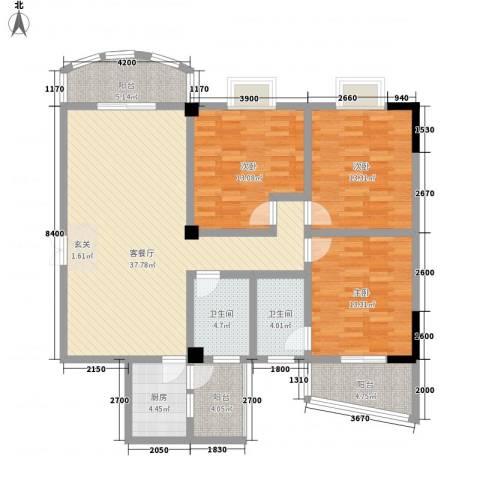 外滩花园3室1厅2卫1厨151.00㎡户型图