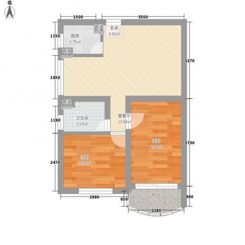 董家渡450弄小区2室1厅1卫1厨50.00㎡户型图
