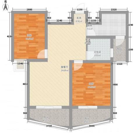 金梅雅苑2室1厅1卫1厨96.00㎡户型图