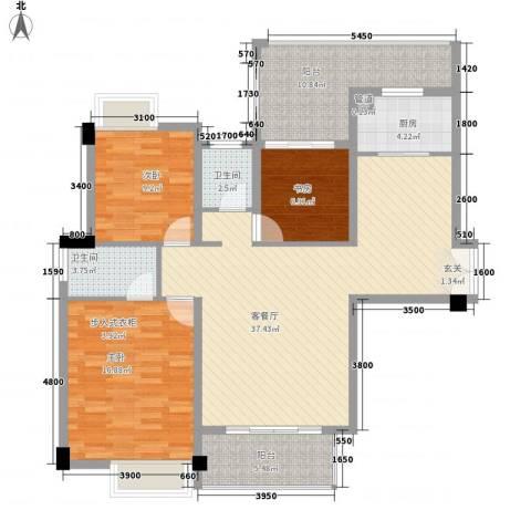 特房五缘尊府3室1厅2卫1厨127.00㎡户型图
