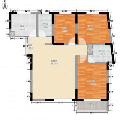 金星家园3室1厅2卫1厨123.00㎡户型图