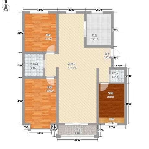 美地家园3室1厅2卫1厨118.00㎡户型图