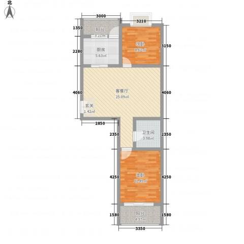 西区新干线2室1厅1卫1厨92.00㎡户型图