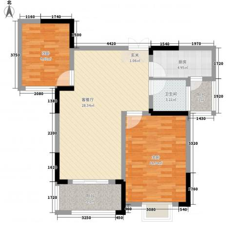 秦水名邸2室1厅1卫1厨100.00㎡户型图