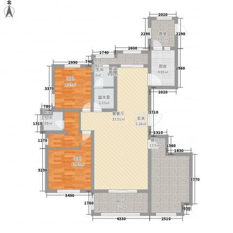 国润溪香米兰2室1厅2卫1厨139.00㎡户型图