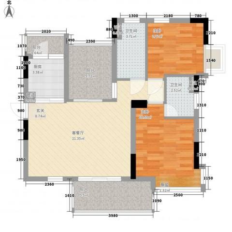 越秀逸泉韵翠2室1厅2卫1厨90.00㎡户型图