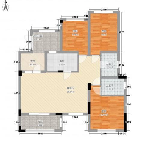 正商红河谷3室1厅2卫1厨121.00㎡户型图