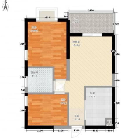 凤凰水城红树湾2室0厅1卫1厨71.00㎡户型图