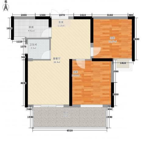 铜锣湾香逸澜湾2室1厅1卫1厨90.00㎡户型图