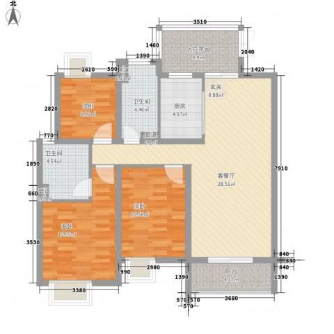 丹州小区3室1厅2卫1厨117.00㎡户型图