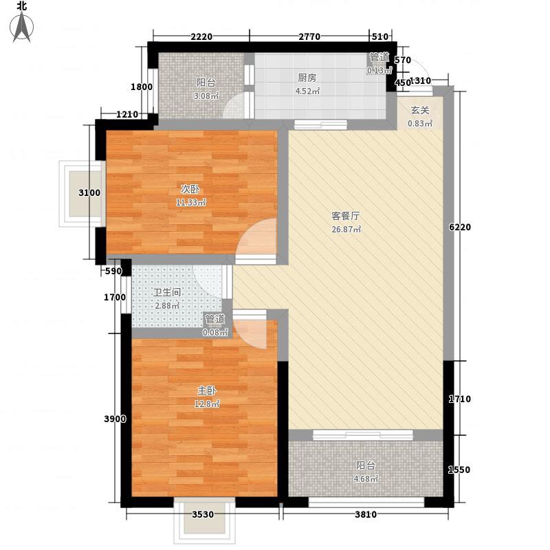 荣成家园F户型:两房两厅一卫,98.73平米_调整大小户型2室