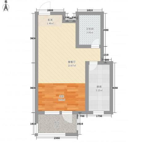 华福国际1厅1卫1厨52.00㎡户型图