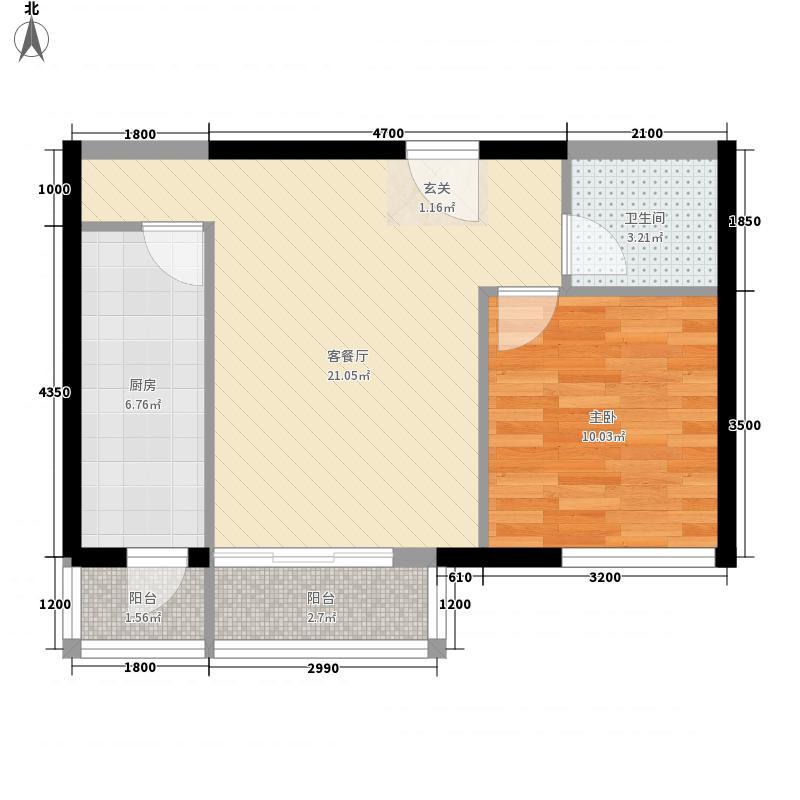 东亚世纪城64.84㎡B户型1室2厅1卫1厨