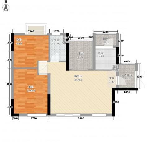 越秀逸泉韵翠2室1厅1卫1厨90.00㎡户型图