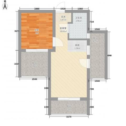 大兴伊比亚河畔IV・海逸广场1室0厅1卫0厨54.00㎡户型图
