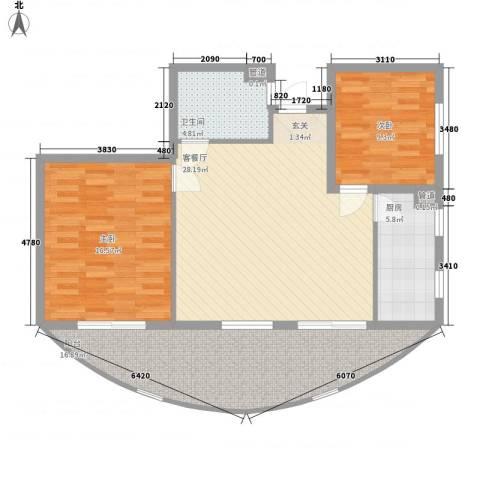 晋唐海湾2室1厅1卫1厨81.81㎡户型图