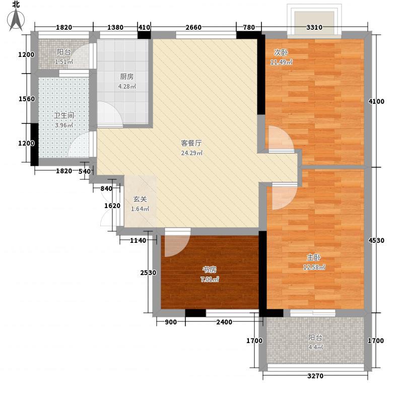 秦水名邸户型图一期321户型 3室2厅1卫