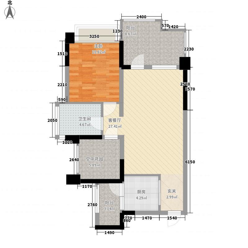 成都华侨城纯水岸72.00㎡二期E3(偶数层)户型1室2厅1卫1厨